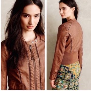 Anthropologie Hei Hei Faux Leather Bomber Jacket